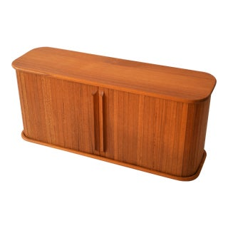 Vintage Mid-Century Teak-Tech Wall Mounted Tambour Door Shelf