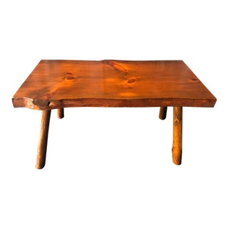 Antique Adirondack Style Live Edge Pine Slab Table / Bench For Sale
