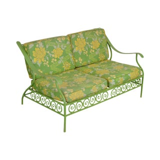 Hollywood Regency Mid Century Lime Green Cast Aluminum Patio Settee For Sale