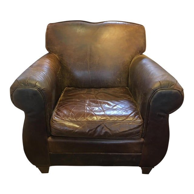 Restoration Hardware Leather French Club Chair | Chairish