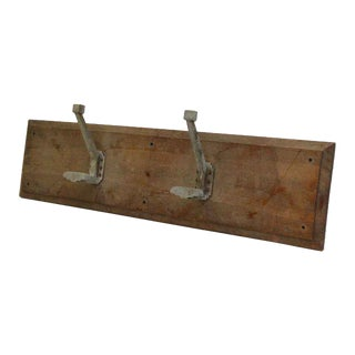 Wooden Two Aluminum French Hooks on Wooden Plank For Sale