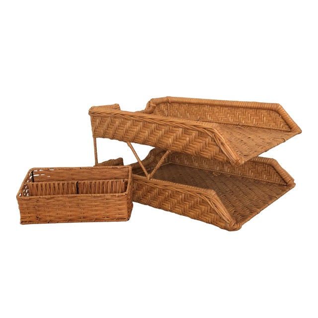 Boho Chic Wicker Desk Set - 2 Pieces For Sale