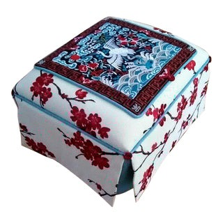 Chinoiserie Cherry Blossom and Crane Tapestry Top Footstool For Sale