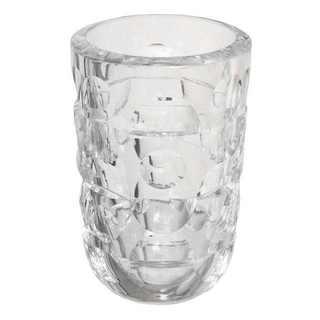 1960s Signed Crystal Glass Vase By Orrefors For Sale - Image 5 of 5