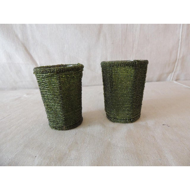 Early 21st Century Emerald Green Glass Beaded Votive Holders For Sale - Image 5 of 5