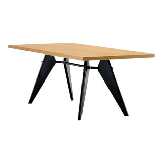 Vitra Em Table in Solid Natural Oak and Deep Black by Jean Prouvé For Sale