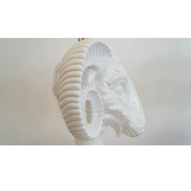 White 1960s Ceramic Rams Head Table Lamps - a Pair For Sale - Image 8 of 9