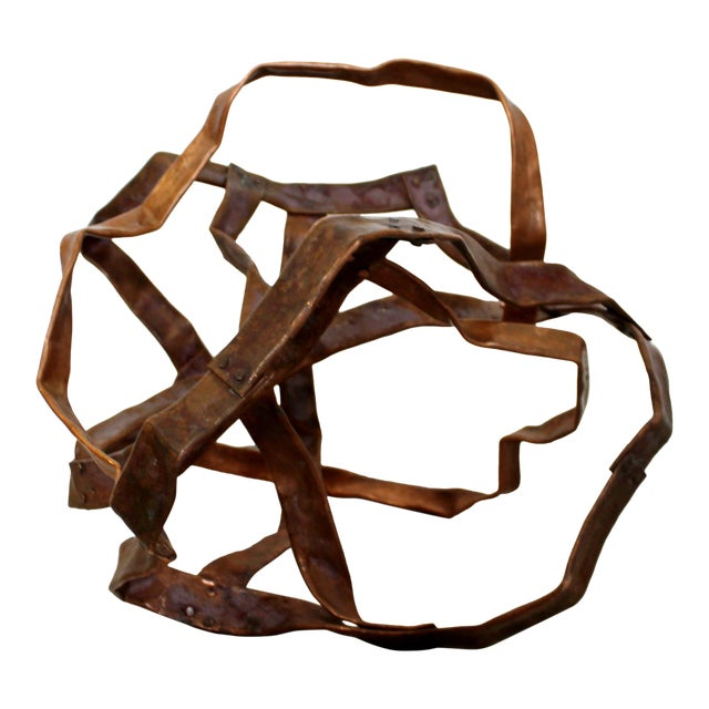 Contemporary Forged Copper Abstract Table Floor Sculpture Signed Hansen 2019 For Sale