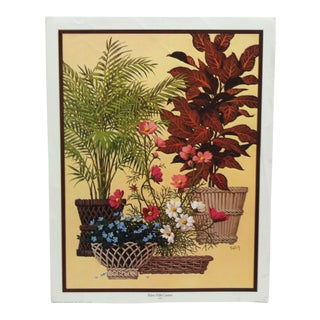 "Vintage Mid-Century ""Palms With Cosmos"" Saron Original Color Lithograph For Sale"