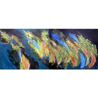 """""""Taking Off and Landing"""" Abstract Diptych Oil Painting by Gina Stepaniuk For Sale"""