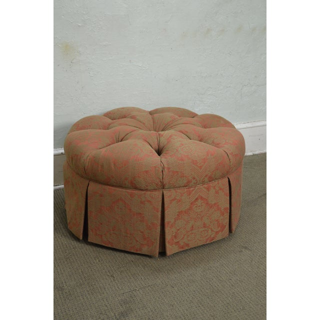 Pink Custom Upholstered Round Tufted Ottoman For Sale - Image 8 of 11