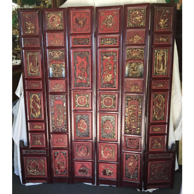 Carved Antique Asian Screen Room Divider For Sale - Image 11 of 11