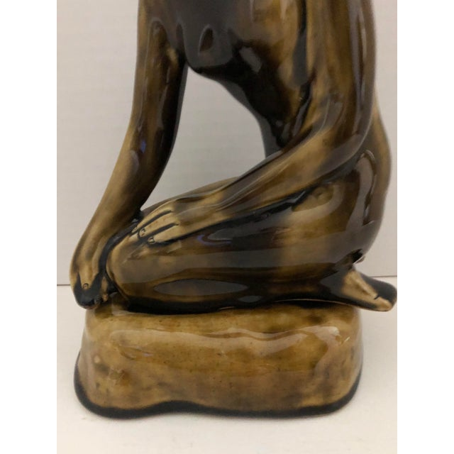 Olive 1970's Female Nude Ceramic Sculpture on Base by Thai Celadon For Sale - Image 8 of 12