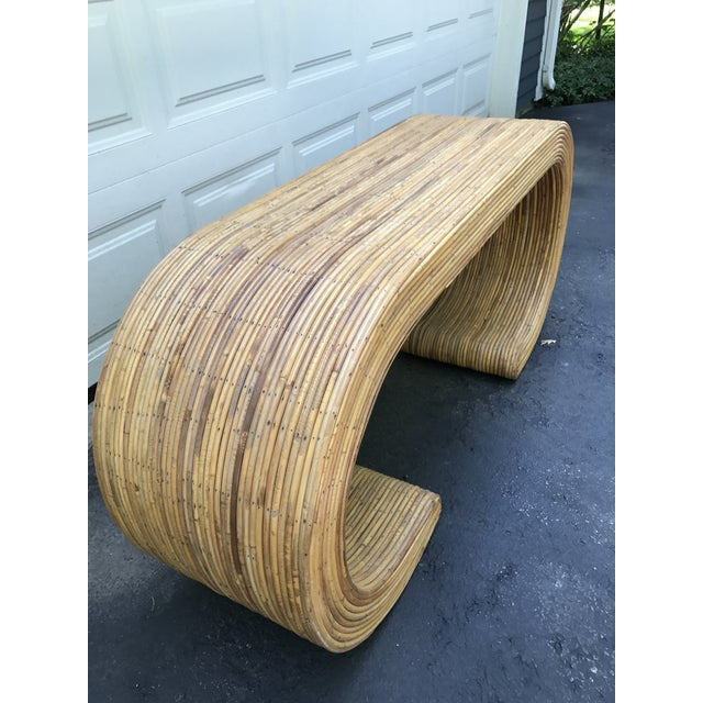 Modern 1970s Karl Springer Style Rattan Waterfall Console - Image 3 of 8