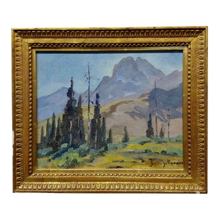George Browne Expressionist Mountain Landscape Oil Painting For Sale