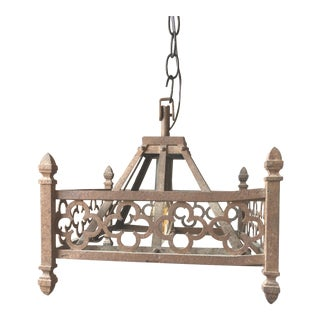 French Wrought Iron Cloverleaf Design Light Fixture For Sale