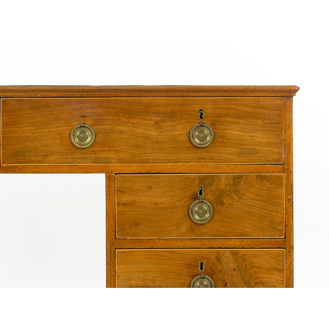 19th Century English Antique Mahogany and Leather Pedestal Desk For Sale - Image 9 of 13