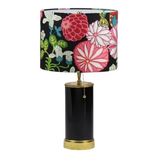 Black High Gloss Table Lamp With Floral Schumacher Chiang Mai Lampshade For Sale