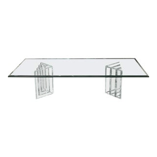 Beautiful Lucite Italian Coffee Table Base with Thick Glass Top For Sale
