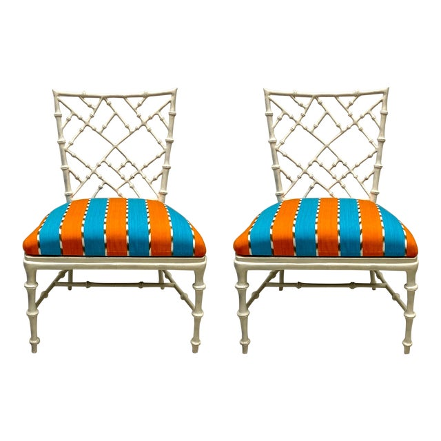 Pair of Cast Aluminum Faux Bamboo Chairs by Kessler for Phyllis Morris For Sale
