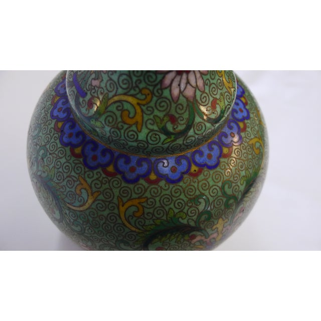 20th Century Chinese Green Cloisonné Vase For Sale - Image 4 of 9