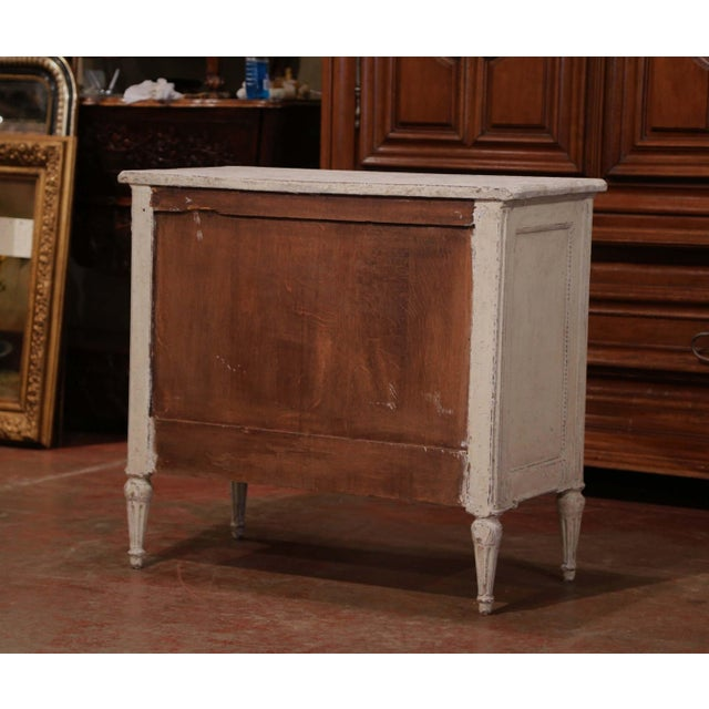 Pair of 19th Century Louis XVI Carved Painted Commodes With Faux Marble Top For Sale - Image 9 of 10