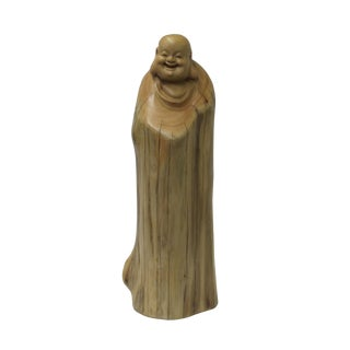 Chinese Cypress Wood Carved Irregular Shape Happy Buddha Statue For Sale