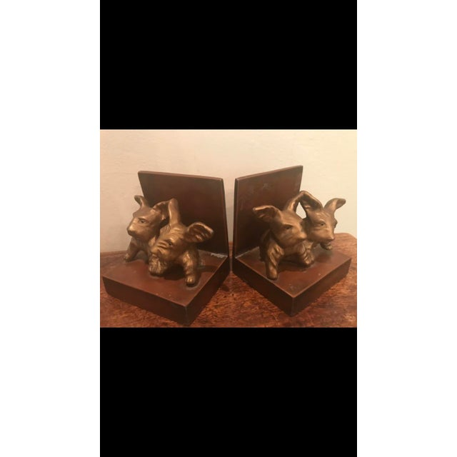 Adorable antique 1930's cast metal Scotty dog bookends made by Nu Art.