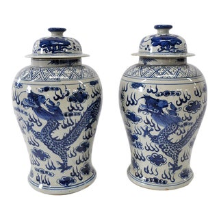 Blue & White Dragon Jars - A Pair For Sale
