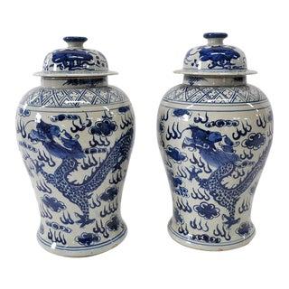 Blue & White Dragon Jars - A Pair