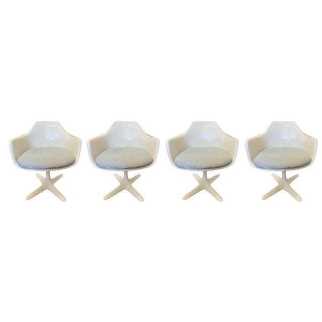 Plastic Vintage Burke Model 116 White Fiberglass Swivel Dining Chairs - Set of 4 For Sale - Image 7 of 7
