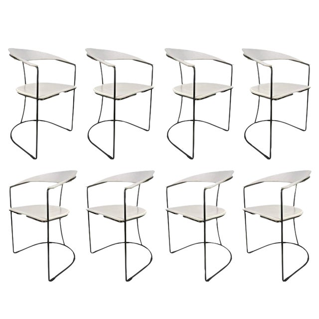 Set of Eight White Leather Chairs with Gunmetal Frames: Arrben, Italy - Image 1 of 7
