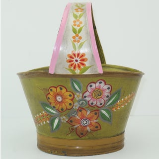 Vintage Mexican Tole Flower Basket Planter Preview