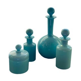19th Century French Opaline Glass Bottles-Set of 4 For Sale