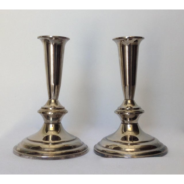 Vintage; Gorham, silver plate Colonial style, weighted, sophisticated and yet simplified, stylish and timeless pair of...