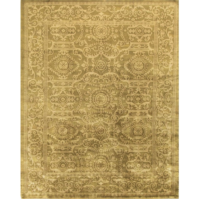 "Hand-Knotted Gold Wool Rug - 7'10"" x 9'9"" - Image 1 of 2"