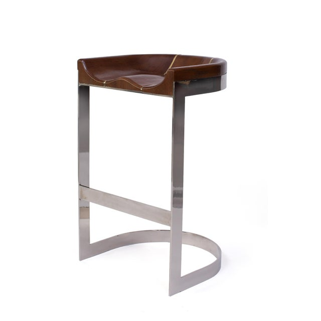 Mid-Century Modern 1970s Warren Bacon Barstools - a Pair For Sale - Image 3 of 7