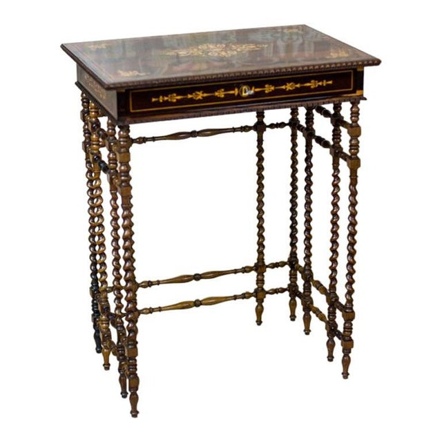 French Intarsiated Table from the 19th Century For Sale - Image 13 of 13