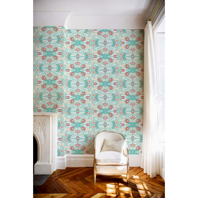 """""""Foo You Looking At? Coral Reef"""" Julianne Taylor Shanghai Collection Wallpaper Remnant - Image 2 of 2"""
