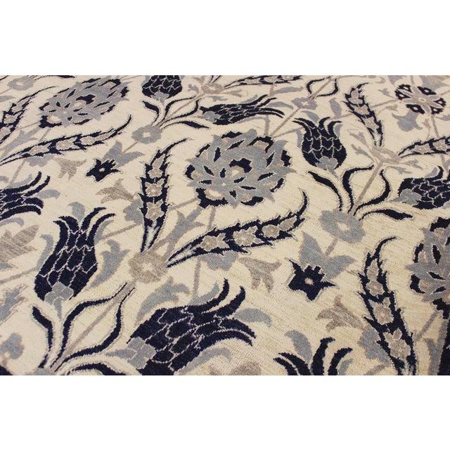 2010s Kafkaz Peshawar Floyd Ivory/Drk. Blue Wool Rug - 8'0 X 10'2 For Sale - Image 5 of 8