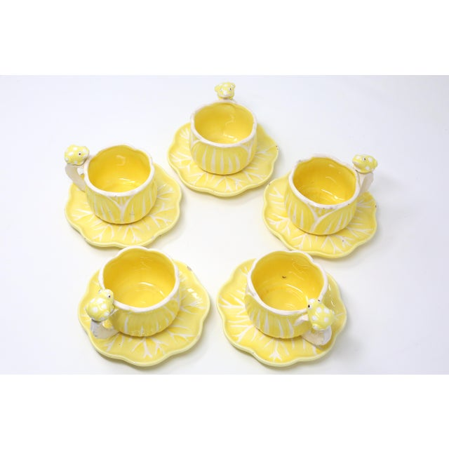 Ceramic Vintage Hand-Painted Yellow and White Flower and Frog Espresso Cups and Saucers - Set of 12 For Sale - Image 7 of 13