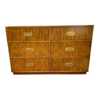 Vintage Campaign Style Dresser Chest of Drawers by Dixie For Sale