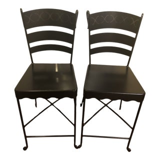 1990s Vintage Black Iron Ladder Back Counter Stools- A Pair For Sale