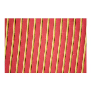 French Fabric Striped Silk Rayon Circa 1900 Material Valance Antique Cloth Red Yellow Black White Stripes Curtain For Sale