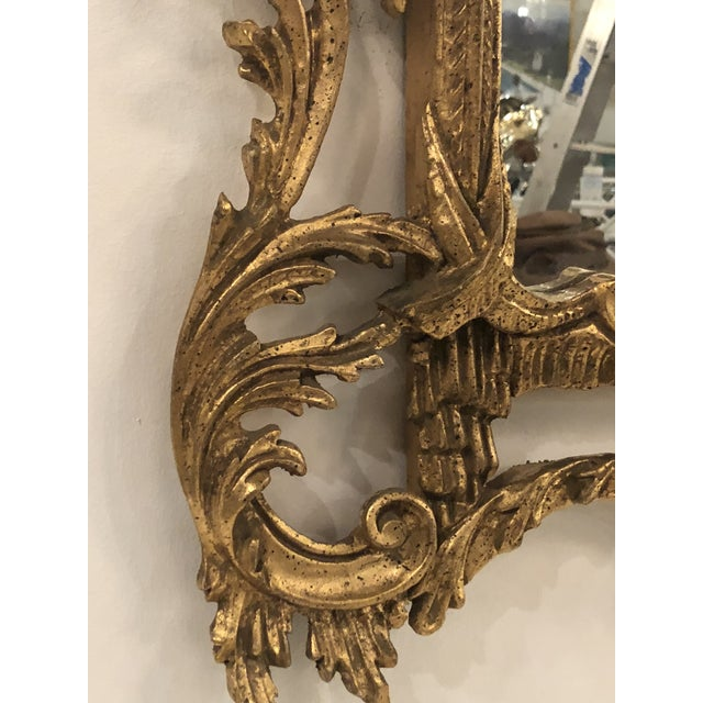Vintage Chinoiserie Italian Labarge Carved Wood Pagoda Bells Wall Mirror For Sale - Image 9 of 13