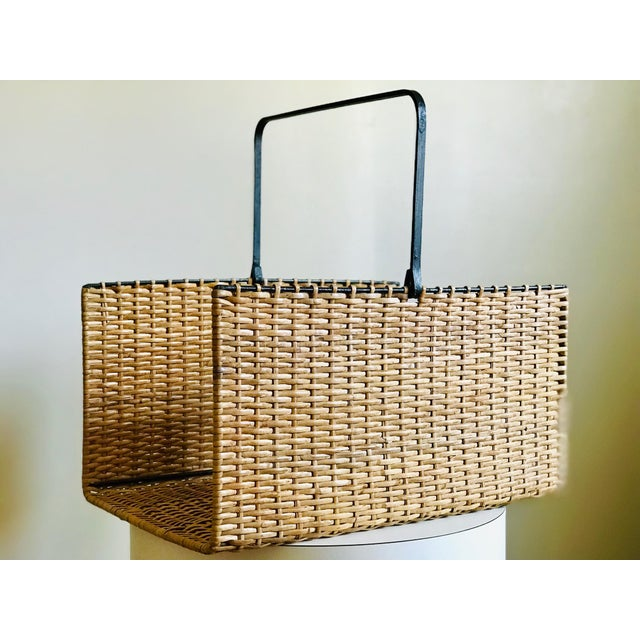 Mid Century Rattan and Iron Magazine Rack For Sale - Image 12 of 12