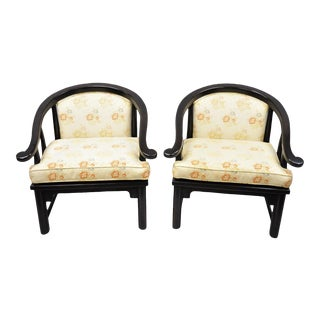 Vintage Mid Century James Mont Horseshoe Ming Style Lounge Chairs- A Pair For Sale