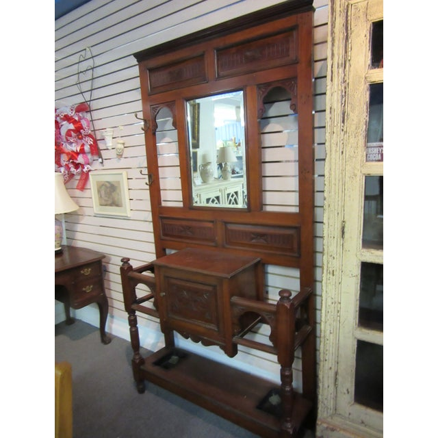 Antique Victorian 1800s Walnut Hall Mirror Stand - Image 3 of 11