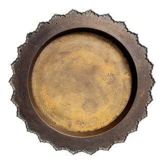 Indonesian Round Brass Tray For Sale