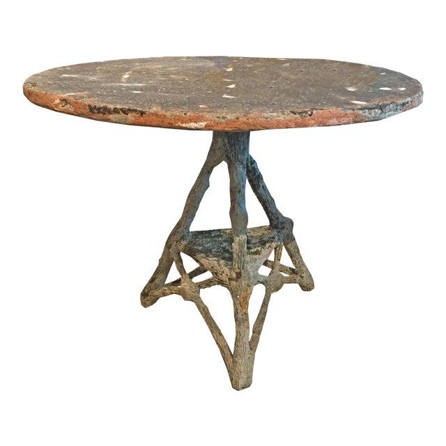 French Vintage Cast Stone Faux Bois Table C.1960 For Sale